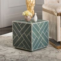 Safavieh Couture Emil Shagreen Cube End Table in Blue