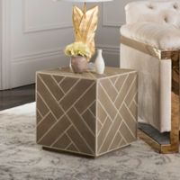 Safavieh Couture Emil Shagreen Cube End Table in Beige