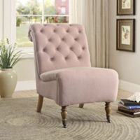 Cora Linen Roll Back Tufted Chair in Pink