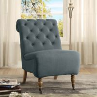 Cora Linen Roll Back Tufted Chair in Blue