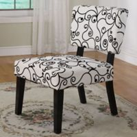 Linon Taylor Accent Chair in White/Black Circles