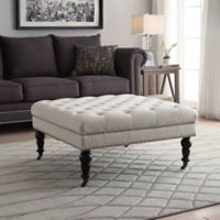 Isabelle Square Tufted Ottoman in Natural
