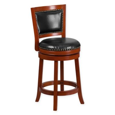 Flash Furniture Padded-Back Swivel Counter Stool in Cherry/Black  sc 1 st  Bed Bath u0026 Beyond & Buy Swivel Counter Stool from Bed Bath u0026 Beyond islam-shia.org