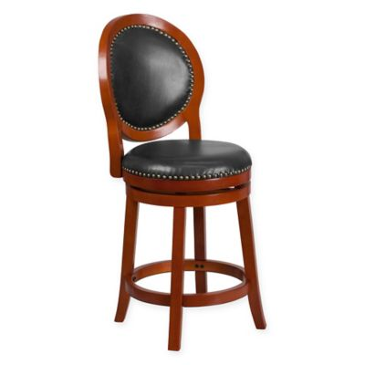 Flash Furniture Oval-Back Swivel Counter Stool in Cherry Walnut /Black - Buy Comfortable Counter Stools From Bed Bath & Beyond