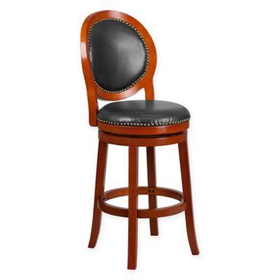 Elegant Flash Furniture Oval Back Swivel Barstool In Cherry Walnut /Black