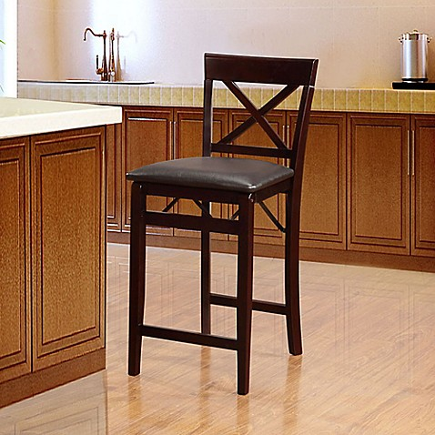 Triena X Back Folding Stool In Espresso Bed Bath Amp Beyond