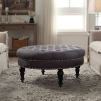 Isabelle Round Tufted Ottoman in Charcoal