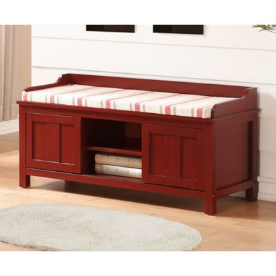 Linon Home Lakeville Storage Bench In Red