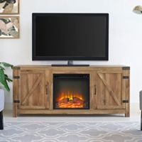 Walker Edison Barn Door Fireplace TV Stand in Chestnut