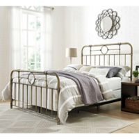 Walker Edison Metal Pipe Queen Bed in Bronze