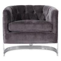Safavieh Zelda Velvet Chair in Grey/Silver