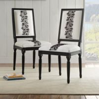 Rose Square Back Chairs in Black/White (Set of 2)