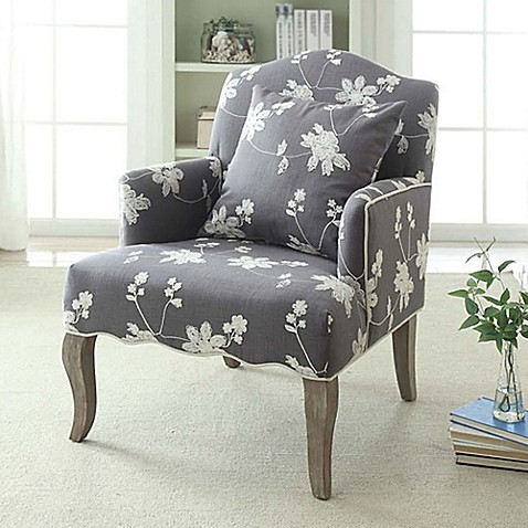 image of Floral Linen Arm Chair in Grey Wash