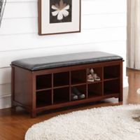 Linon Cape Anne Storage Bench in Walnut