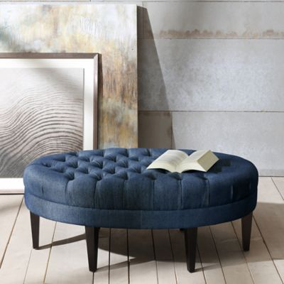 Madison Park Martin Surfboard Tufted Ottoman In Blue Design