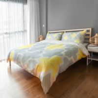 Sunny Quatrefoil Queen Duvet Cover in Grey/White/Yellow