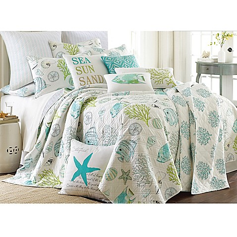levtex home arielle reversible quilt set in aqua bed 87863