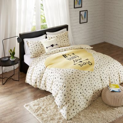 Hipstyle Bedford Full Queen Duvet Cover Set In White Yellow