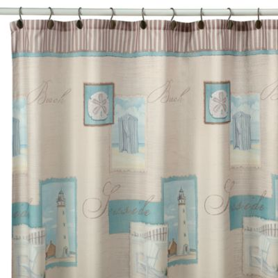 Coastal Collage Fabric Shower Curtain