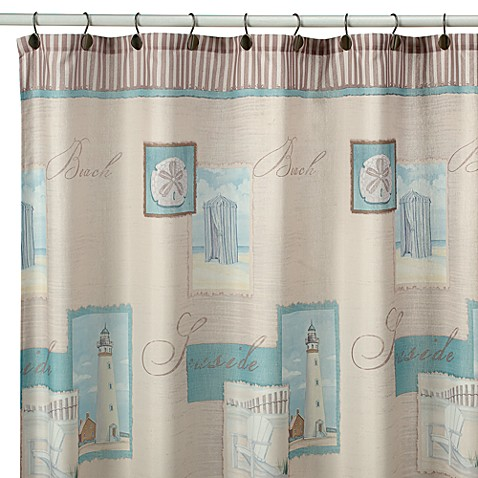 coastal collage fabric shower curtain bed bath   beyond