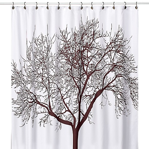 brown and white shower curtain. Tree Brown 70 Inch x 72 Fabric Shower Curtain  Bed Bath Beyond