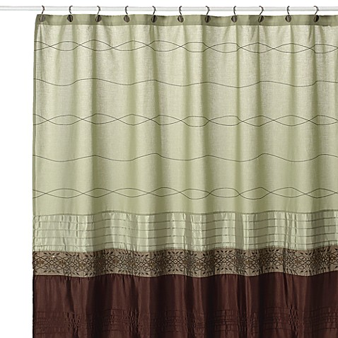 KAS Romana Green Fabric Shower Curtain