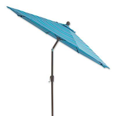 9 Foot Round Aluminum And Fiberglass Outdoor Umbrella In Blue Stripe