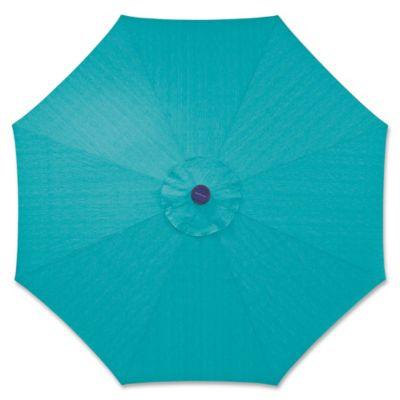 9 Foot Round Solar Aluminum Patio Umbrella In Teal