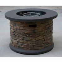 Bond Summit Stone Round Column Gas Fire Pit in Beige