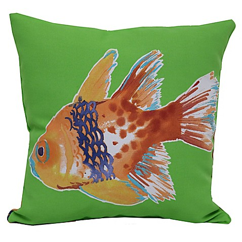 Fish square outdoor throw pillows in green set of 2 for Outdoor fish for sale