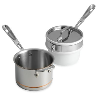 allclad copper core 2quart saucepan with porcelain double boiler insert