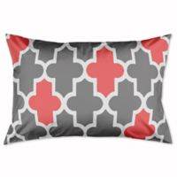 Fun and Preppy Quatrefoil King Pillow Sham in Grey/Pink/White