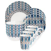 American Atelier Diamond 16-Piece Dinnerware Set in Blue/Gold