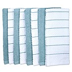 Chevron Jacquard Kitchen Towel in Blue/White (Set of 8)