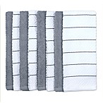 Chevron Jacquard Kitchen Towel in Grey/White (Set of 8)
