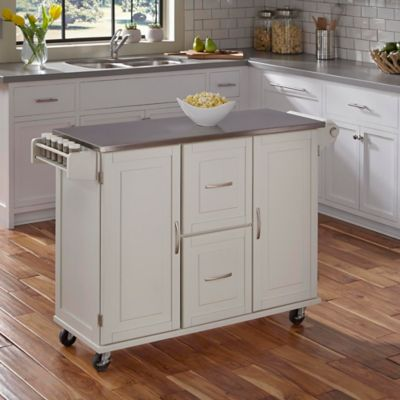 Dolly Madison Liberty Stainless Steel Top Kitchen Cart In White