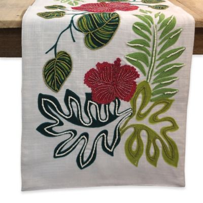 36 Inch Beaded Tropical Floral Table Runner