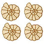 Beaded Spiral Shell Coasters in Gold/Ivory (Set of 4)