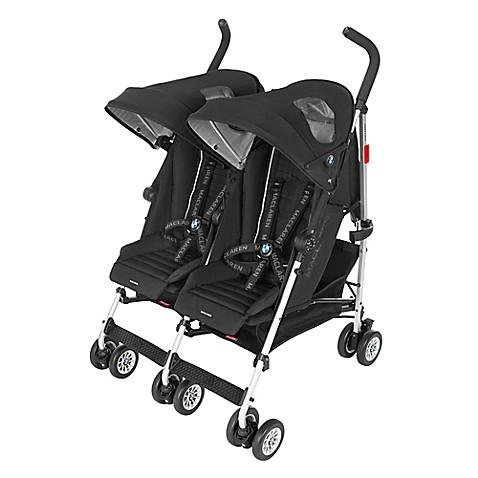 maclaren bmw twin stroller in black buybuy baby. Black Bedroom Furniture Sets. Home Design Ideas