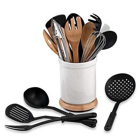 denmark rotating 17 piece utensil crock set   bed bath