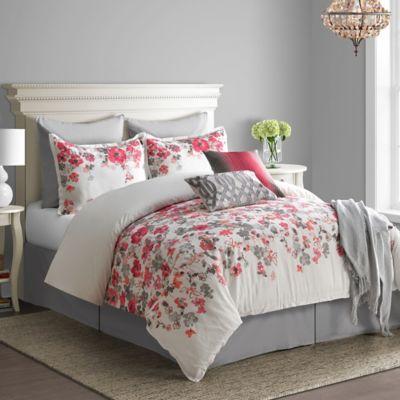 bridge street blossom king comforter set in red