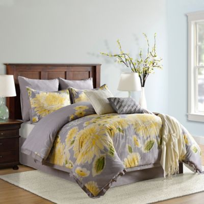 bridge street electra king comforter set in yellowgrey - Yellow Bed Frame