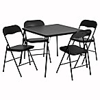 Flash Furniture 5-Piece Folding Card Table and Chairs in Black