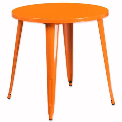 High Quality Flash Furniture 30 Inch Round Metal Indoor/Outdoor Bar Table In Orange