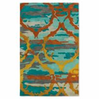 Kaleen Brushstrokes Ikat 9-Foot 6-Inch x 13-Foot Area Rug in Teal