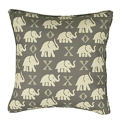 Elephant Throw Pillow Bed Bath And Beyond : Rose Tree Elephant 18-Inch Square Throw Pillow in Grey - Bed Bath & Beyond
