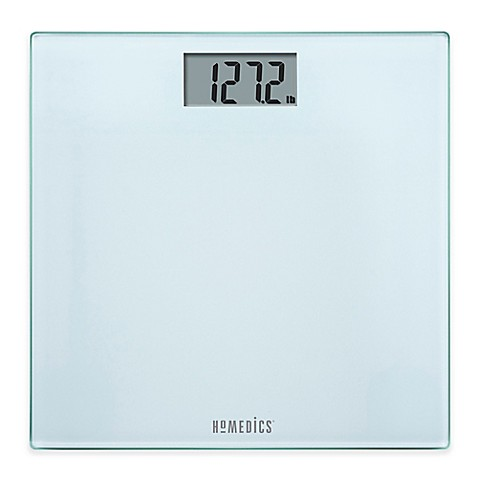homedics® glass digital bathroom scale in frosted white - bed bath