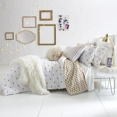 Glam Polka Dot Reversible Twin Twin Xl Comforter Set In Gold