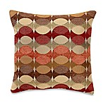 Hyper Square Throw Pillow in Red/Mocha/Yellow