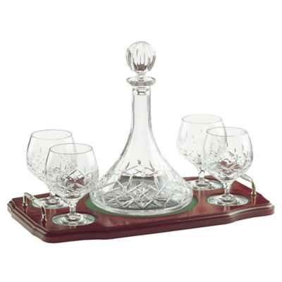 Galway Crystal Longford 6-Piece Miniature Brandy Decanter Set